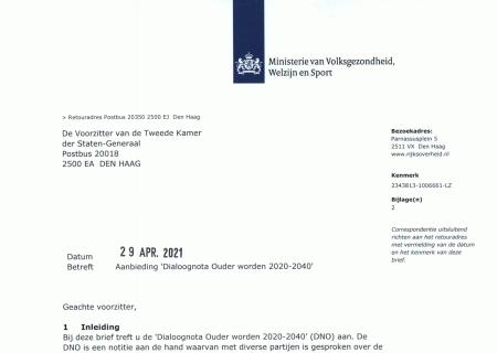 Brief aan de Tweede Kamer over de Dialoognota